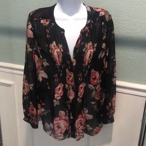Joie Floral Silk Roses Pleated Tunic S